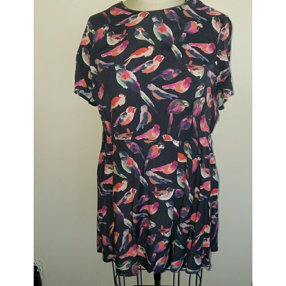 Bird print babydoll dress plus size